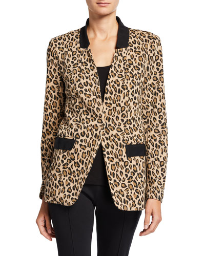 Petite Animal-Print French-Terry Boyfriend Blazer