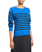 Joan Vass Petite Striped Cotton Sweater with Button