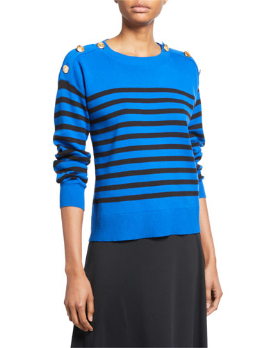 Plus Size Striped Cotton Sweater with Button Details