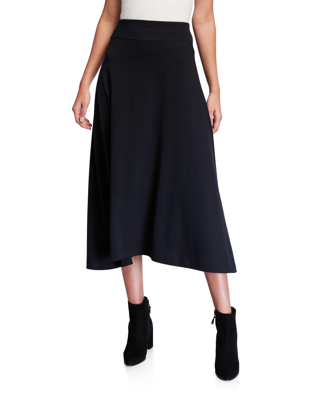 Joan Vass Skirts PLUS SIZE LONG COTTON INTERLOCK SKIRT