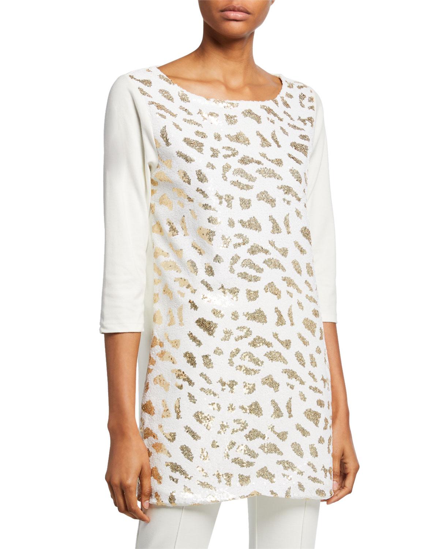Sequin Animal 3/4-Sleeve Cotton Interlock Tunic