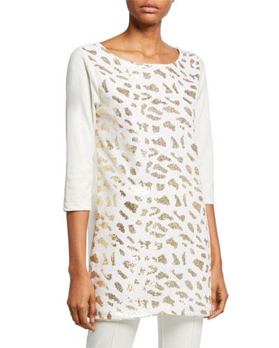 Plus Size Sequin Animal 3/4-Sleeve Cotton Interlock Tunic
