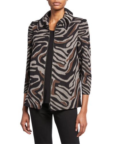 Plus Size Zip-Front Animal-Print Jacket with Ruched Collar