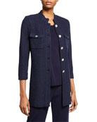 Misook Petite 3/4-Sleeve Button-Front Textured Jacket