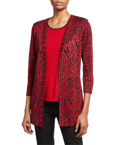 Plus Size Paisley 3/4-Sleeve Long Jacket with Stud Detail