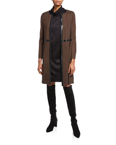 Petite Long Jacket with Faux Leather Trim