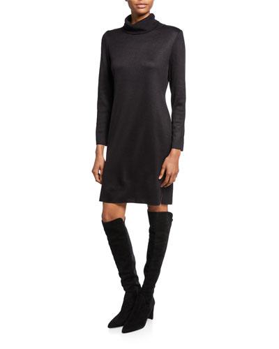 Plus Size Long-Sleeve Turtleneck Dress
