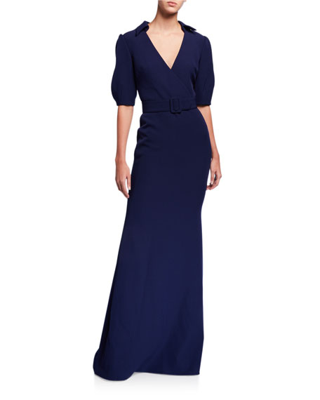Badgley Mischka Collection Belted Elbow-Sleeve Shirt Column Gown