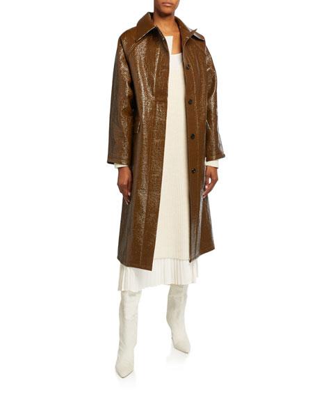 Kassl Lacquer Long Self-Tie Raincoat
