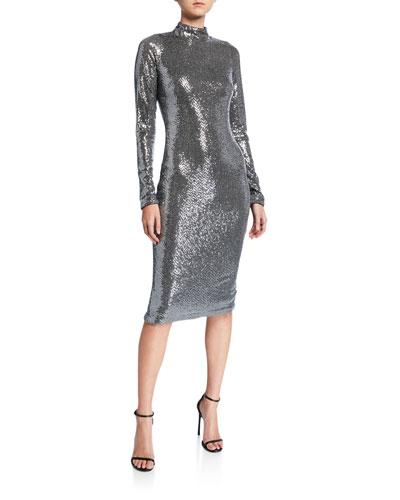 Sequin Mock-Neck Long-Sleeve Sheath Dress