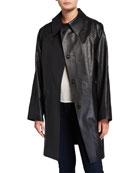 Kassl Above-the-Knee Oil Finish Raincoat, Black