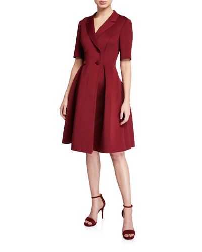 Double-Breasted Elbow-Sleeve Scuba Shirtdress