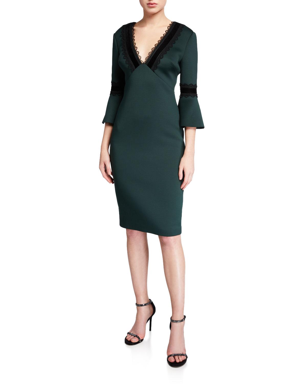 Badgley Mischka Dresses LACE-TRIM V-NECK TRUMPET-SLEEVE SCUBA DRESS