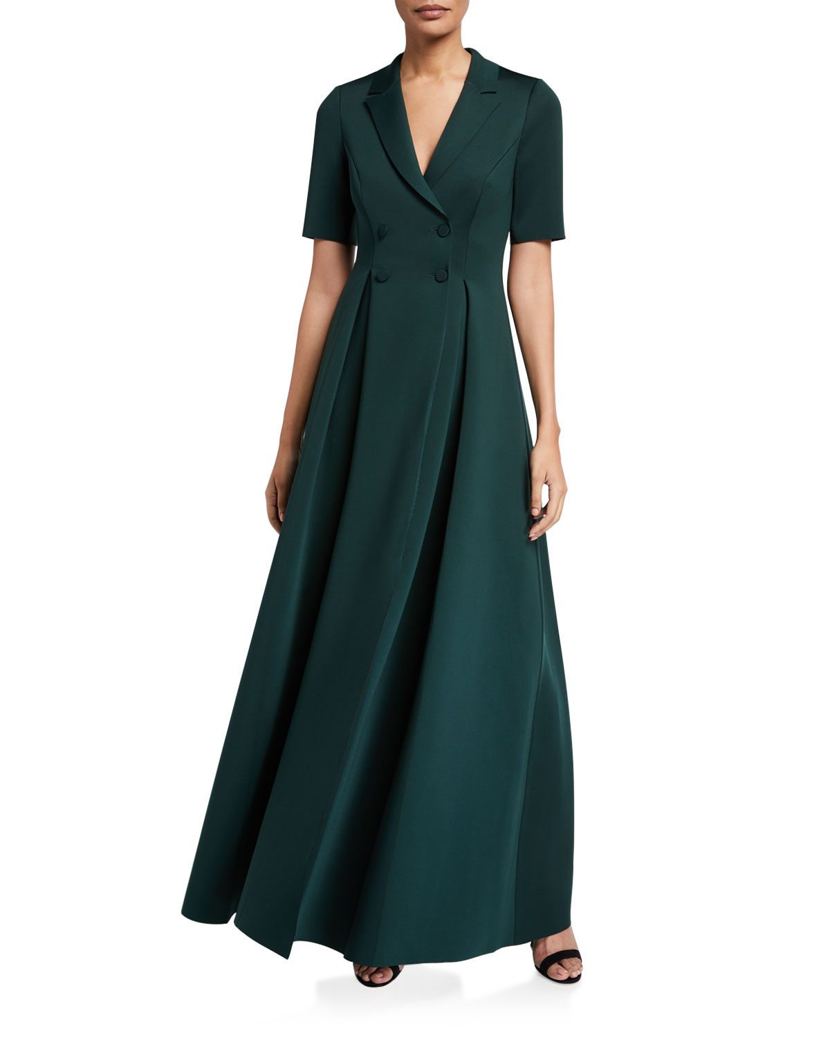 Badgley Mischka Coats ELBOW-SLEEVE LONG SCUBA COAT DRESS