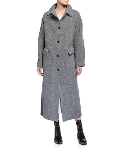Wool-Blend Button Maxi Coat