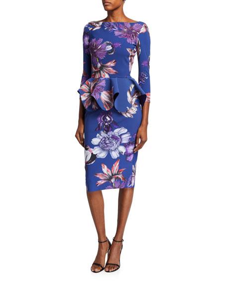 Chiara Boni La Petite Robe Floral High-Neck Long-Sleeve Peplum Dress