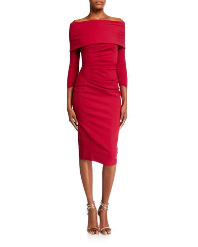 Off-the-Shoulder Portrait 3/4-Sleeve Dress
