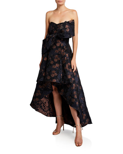 Strapless Brocade High-Low Cocktail Dress with Big Bow