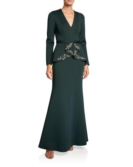Badgley Mischka Collection V-Neck Long-Sleeve Beaded Peplum Scuba Gown
