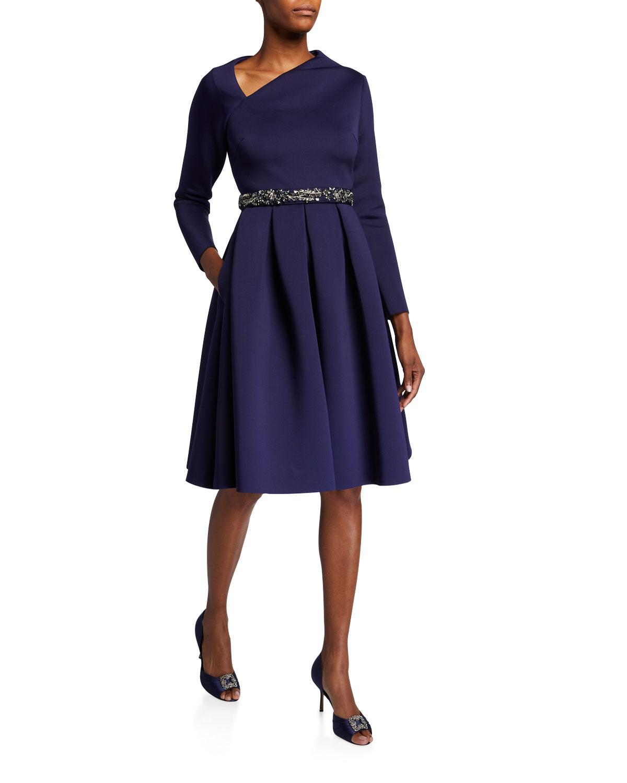 Badgley Mischka Dresses SCULPTED-NECK LONG-SLEEVE BEADED BELT DRESS