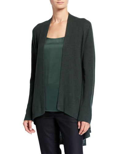 Angle-Front Silk/Cashmere Cardigan