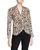 L'Agence Mariposa Printed Twist-Front Top