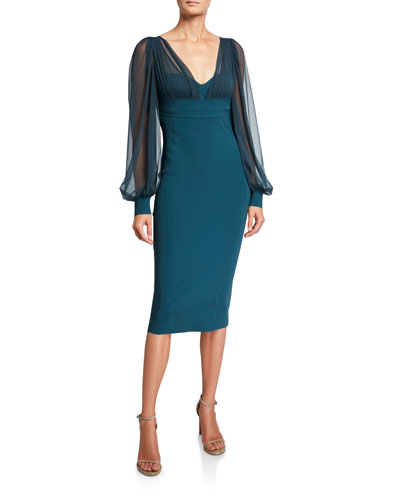 V-Neck Sheer-Sleeve Empire-Waist Sheath Dress