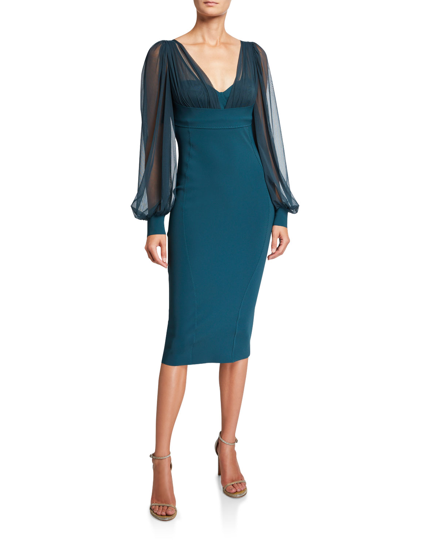 Chiara Boni La Petite Robe Dresses V-NECK SHEER-SLEEVE EMPIRE-WAIST SHEATH DRESS