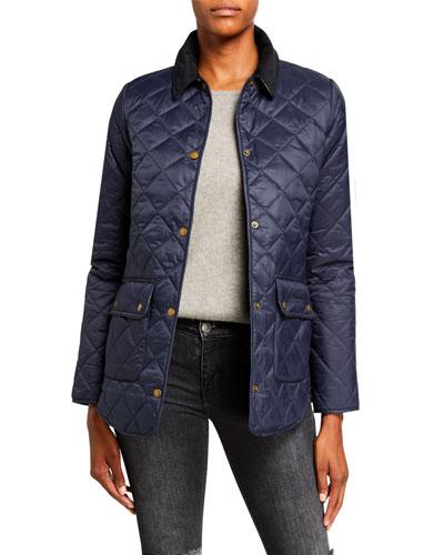 Naomi Box-Quilt Snap-Front Jacket