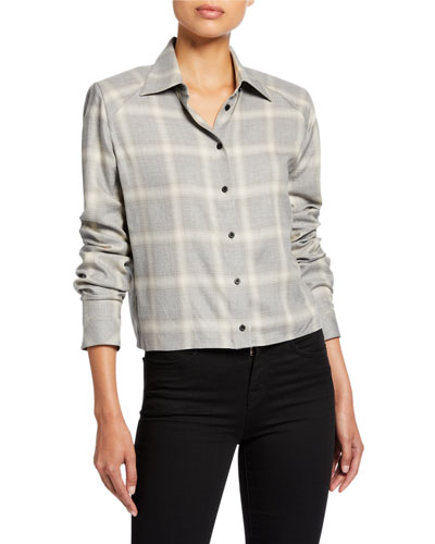 Maxine Cropped Plaid Button-Up Top