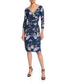 Chiara Boni La Petite Robe Floral V-Neck Long-Sleeve