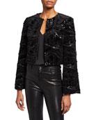 Badgley Mischka Collection Sequin Embellished Velvet Bolero