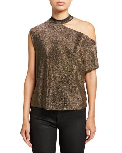 Axel Metallic Cutout Shirt, Gold