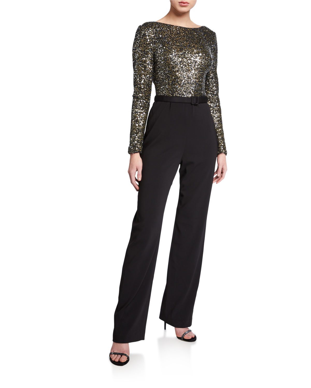 Badgley Mischka Suits SEQUIN LONG-SLEEVE COWL-BACK BELTED JUMPSUIT