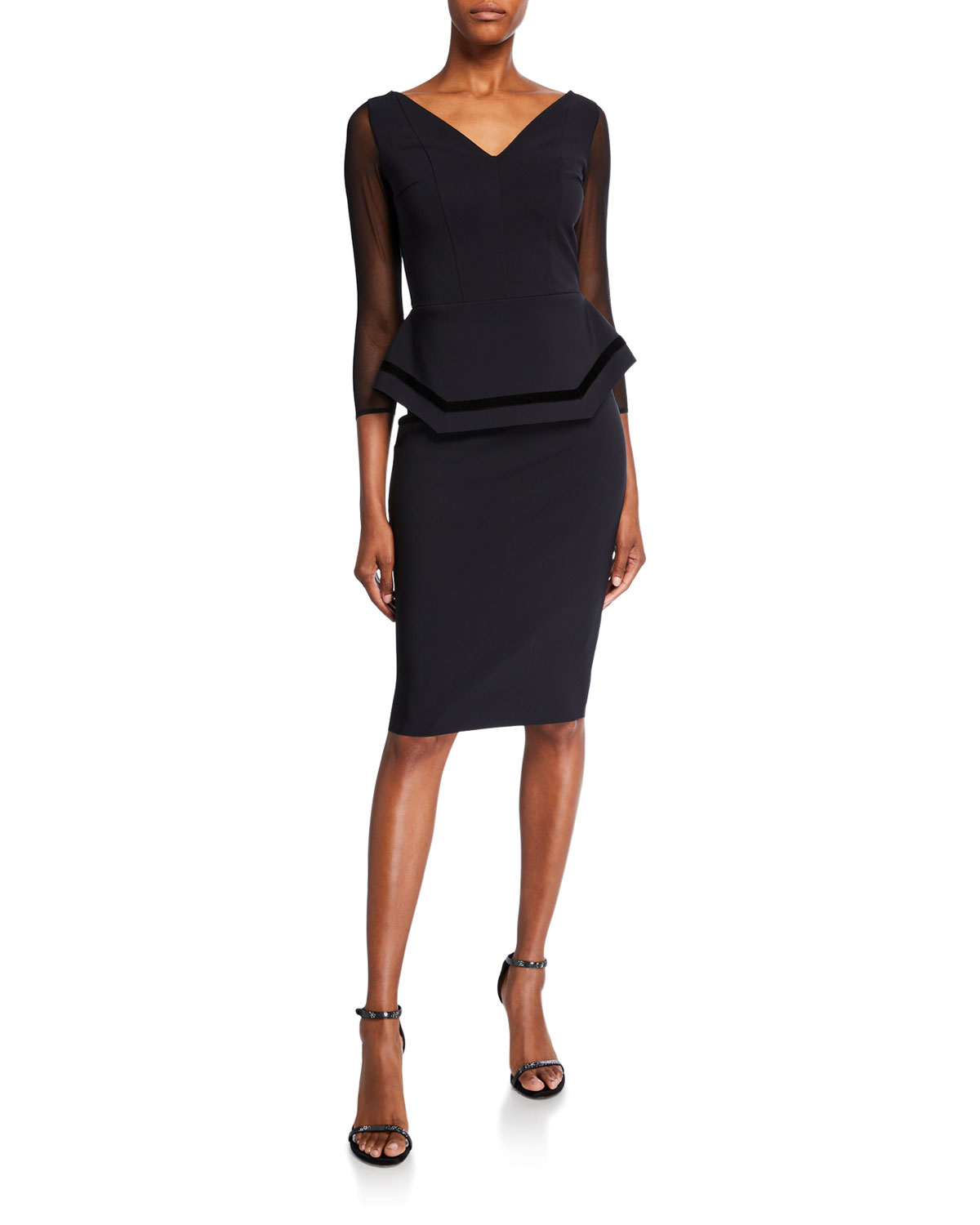 Chiara Boni La Petite Robe Dresses V-NECK SHEER-SLEEVE PIPED DOUBLE PEPLUM DRESS