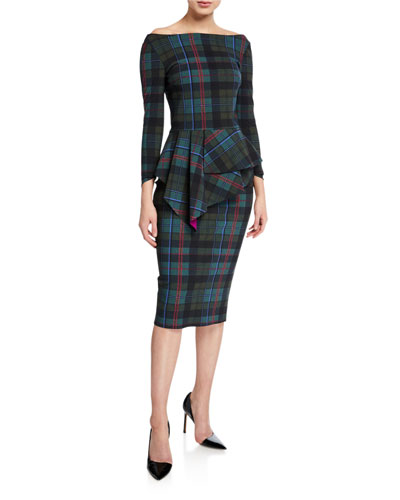Plaid Off-the-Shoulder Long-Sleeve Peplum Dress