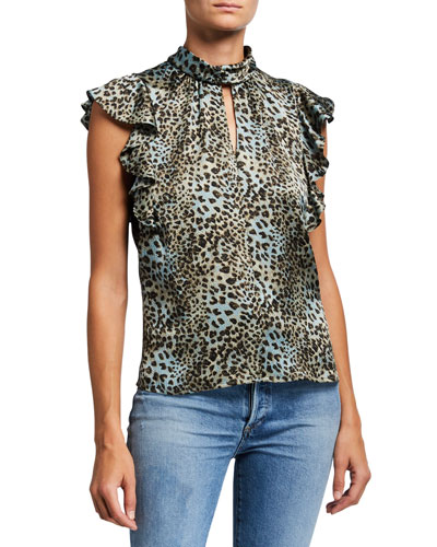 Lynx Printed Mock-Neck Ruffle Top