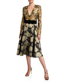 Badgley Mischka Collection V-Neck Long-Sleeve Floral & Lace