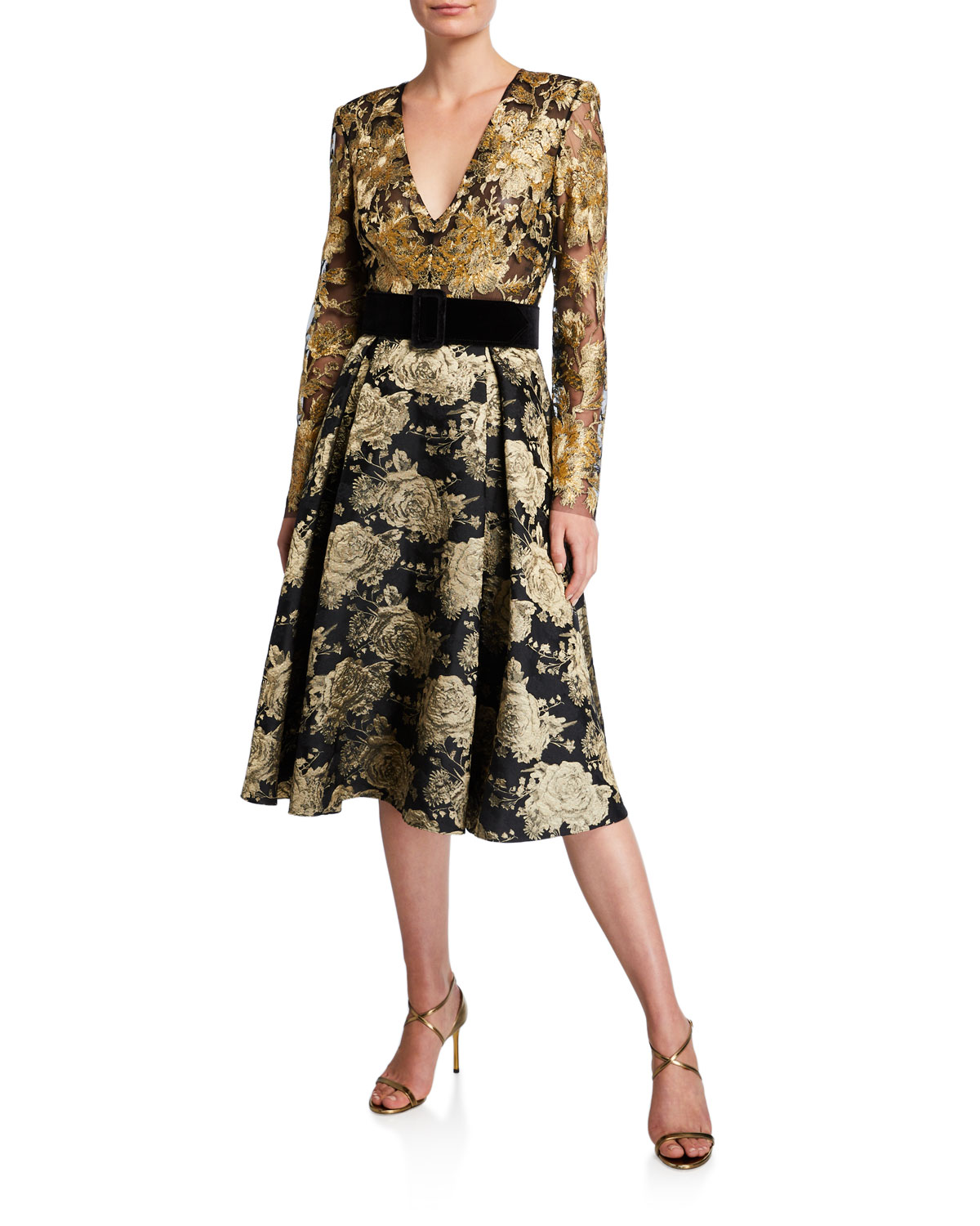 Badgley Mischka Dresses V-NECK LONG-SLEEVE FLORAL & LACE BELTED COCKTAIL DRESS