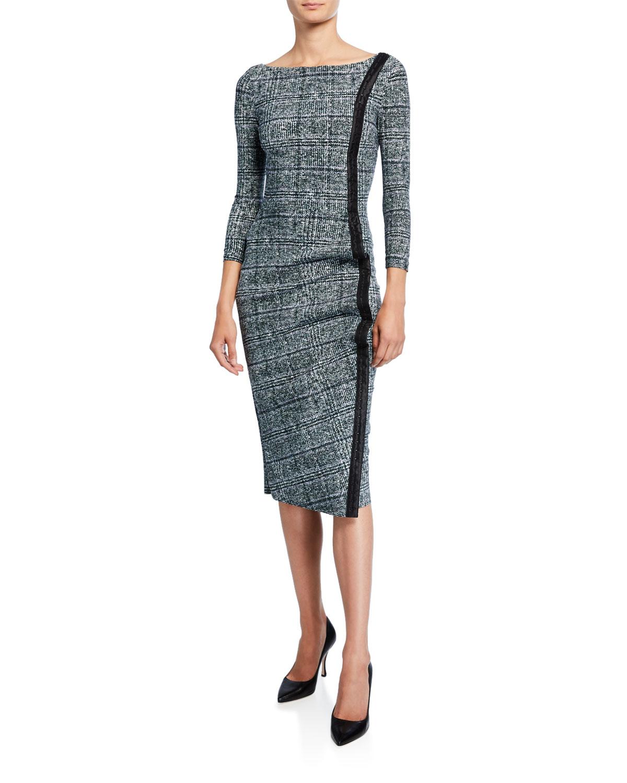 Chiara Boni La Petite Robe Dresses LONG-SLEEVE TWEED DRESS W/ PIPING