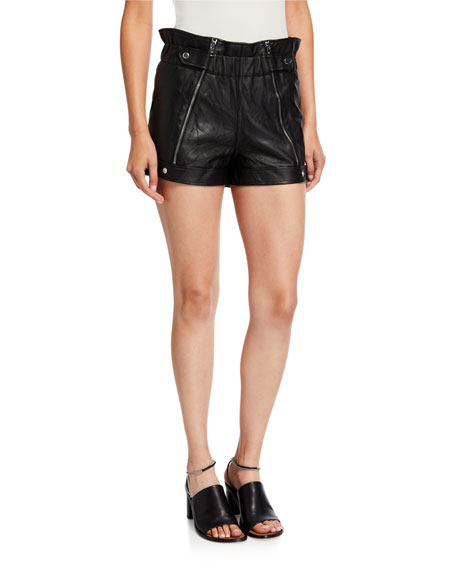 RtA Louie Leather Zipper Shorts