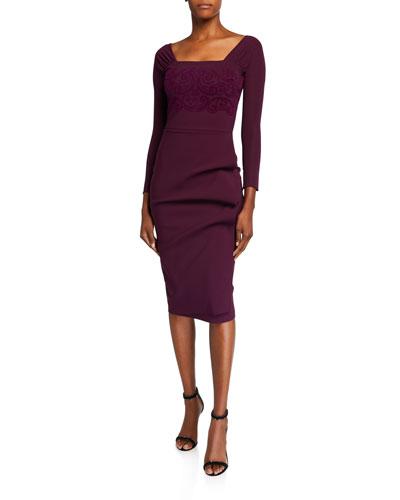 Long-Sleeve Velvet Embroidered Dress with Ruffle Skirt