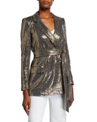 Badgley Mischka Collection Sequin Long-Sleeve Belted Smoking
