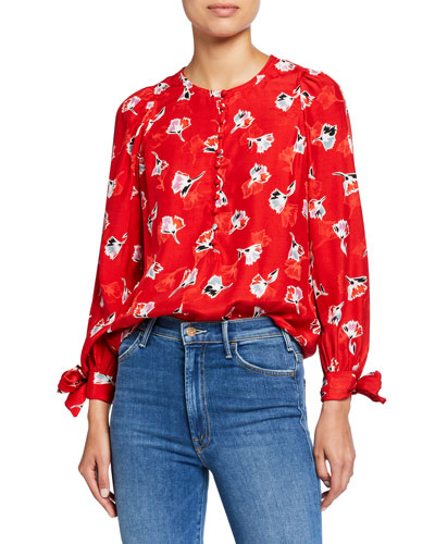 Long-Sleeve Paintbrush Button-Front Top