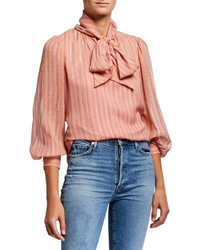 Long-Sleeve Metallic Stripe High-Neck Top