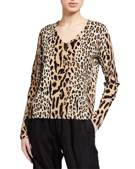 ATM Anthony Thomas Melillo Cashmere-Blend Leopard-Print Scoop-Neck Sweater
