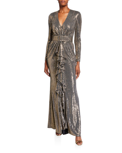 Sequin Long-Sleeve Belted Gown with Cascading Ruffle