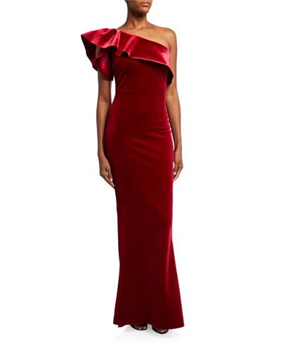 One-Shoulder Ruffle Velvet Column Gown