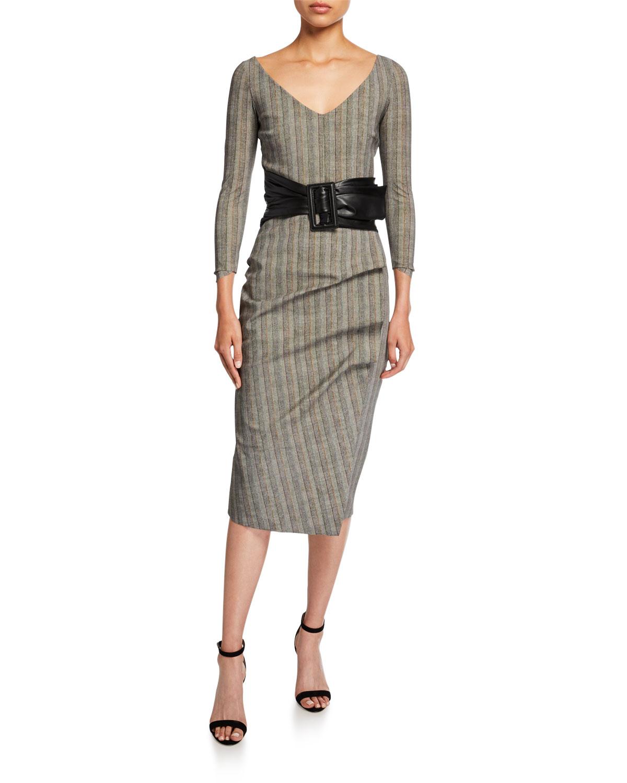 Chiara Boni La Petite Robe Dresses V-NECK 3/4-SLEEVE BELTED HERRINGBONE DRESS
