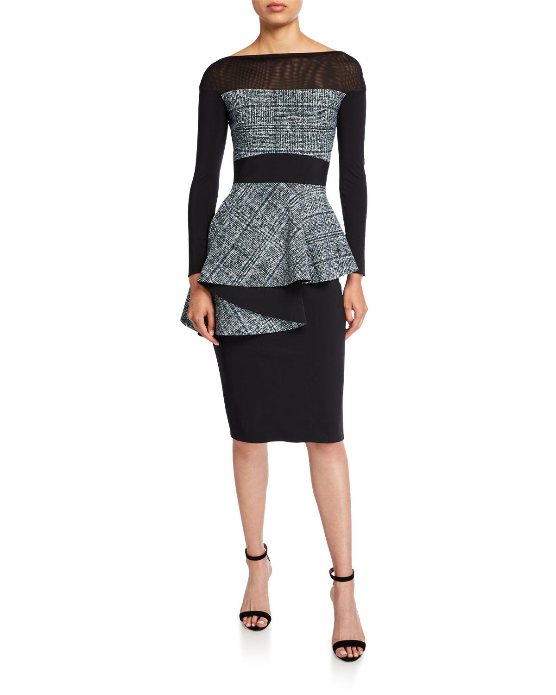 Chiara Boni La Petite Robe Dresses BATEAU-NECK LONG-SLEEVE TWEED PEPLUM DRESS